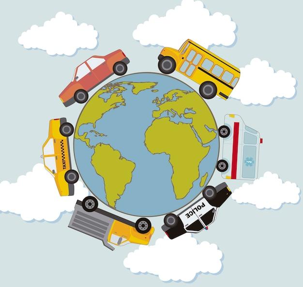 Auto's over planeet in cirkelvorm transport vector Premium Vector