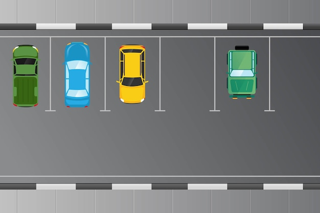Auto's voertuig van bovenaanzicht op de parkeerplaats illustratie Premium Vector