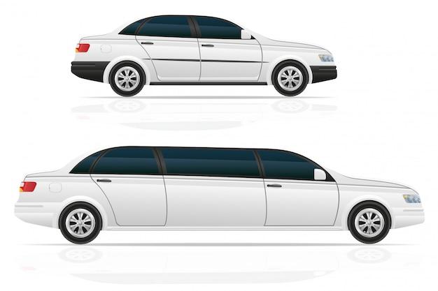 Auto sedan en limousine Premium Vector