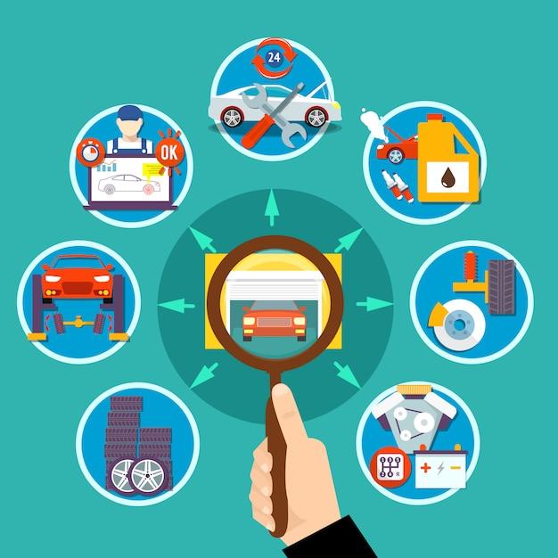 Auto service cirkel ontwerpconcept Gratis Vector