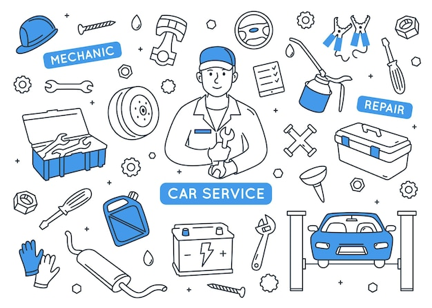 Auto service doodle elementen instellen. Premium Vector