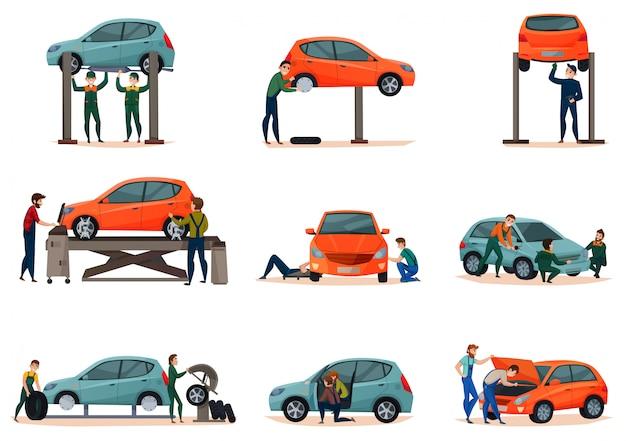 Auto service icons set Gratis Vector