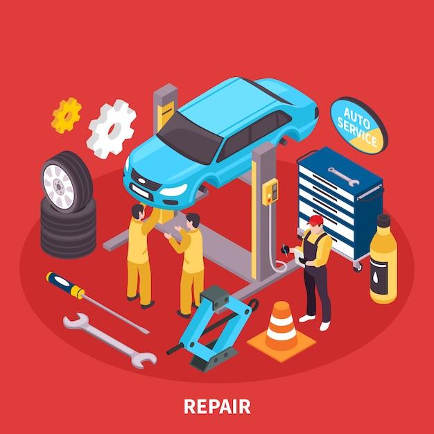 Auto service isometrische illustratie Gratis Vector