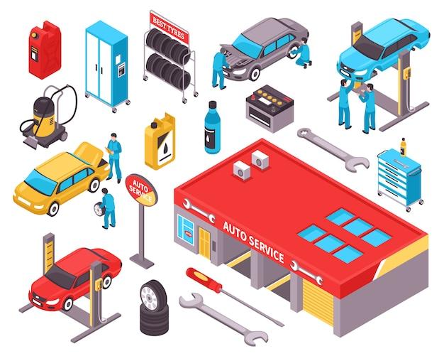 Auto service isometrische pictogrammen instellen Gratis Vector