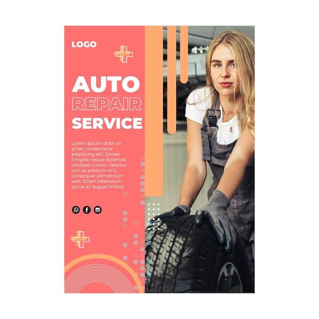 Auto service monteur flyer v Premium Vector