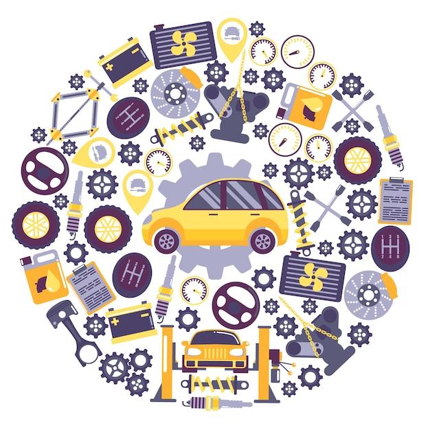 Auto service pictogrammen in ronde frame samenstelling voertuig onderhoudscentrum auto reparatie service Premium Vector