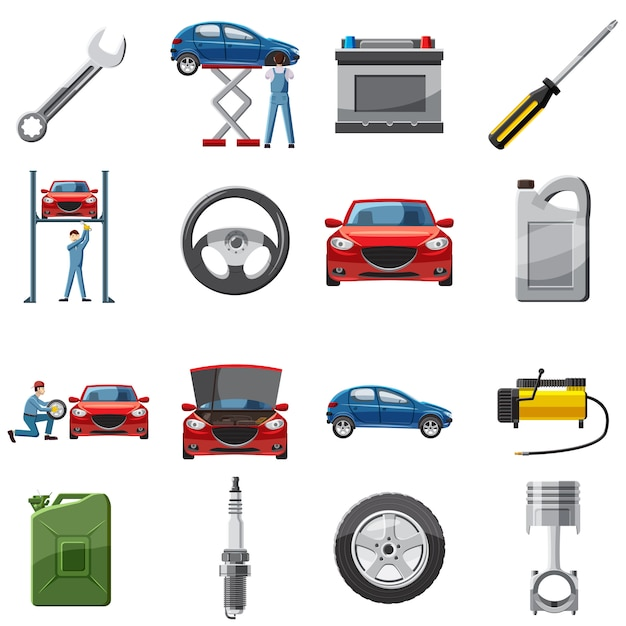 Auto service pictogrammen instellen in cartoon stijl Premium Vector