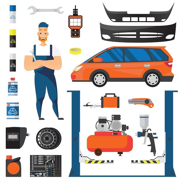 Auto service plat pictogrammen instellen Gratis Vector