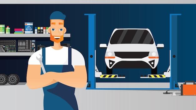 Auto service samenstelling met jonge technicus moersleutelmoersleutel houden Gratis Vector