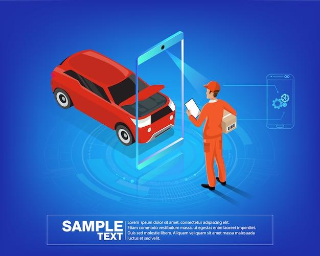 Auto services mobiele app Premium Vector