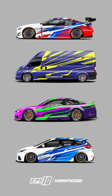 Auto sticker ontwerpen set Premium Vector