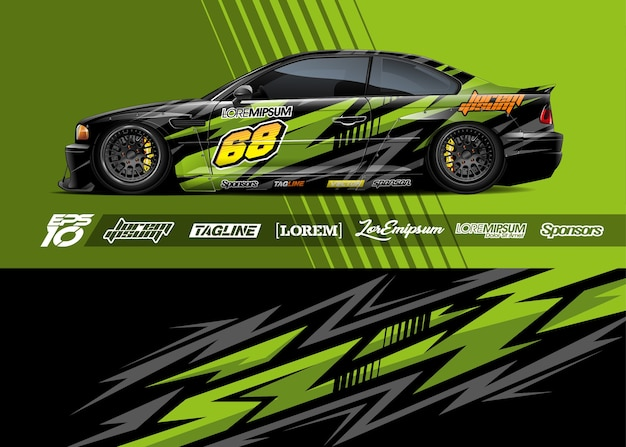 Auto sticker wrap illustratie Premium Vector