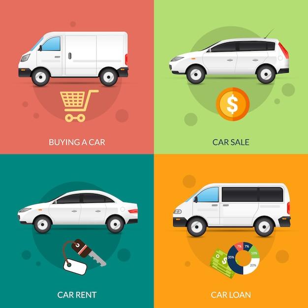 Auto te huur en te koop Gratis Vector