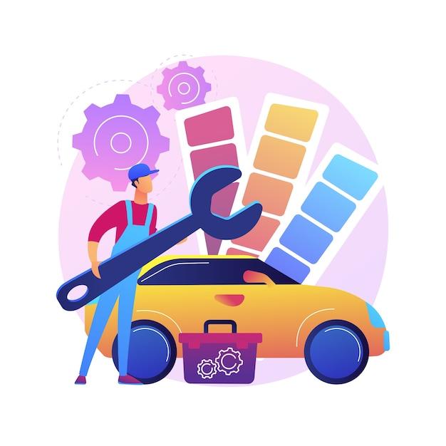 Auto tuning abstracte concept illustratie. raceauto-turbo-afstemming, autocarrosserie, upgrade van voertuigmuziek, automobielstijl en -ontwerp, reparatieservice voor sportwagens. Gratis Vector