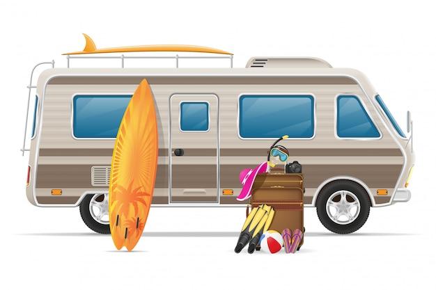 Auto van caravan camper stacaravan met strandaccessoires Premium Vector