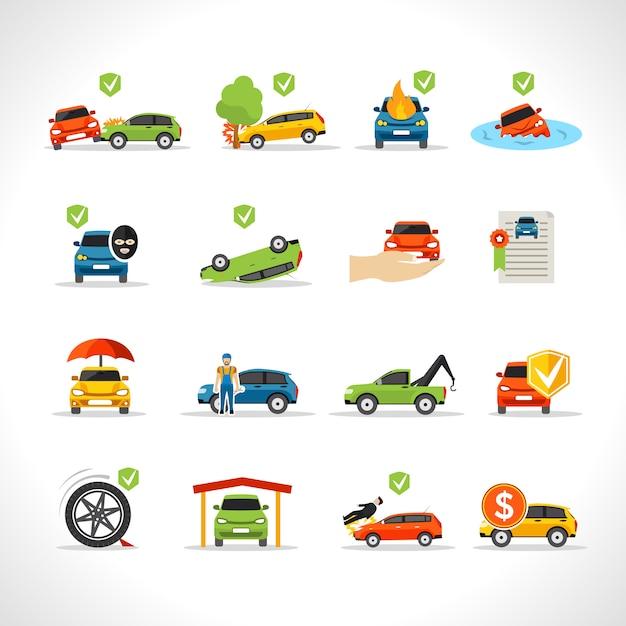 Auto verzekering icons set Gratis Vector