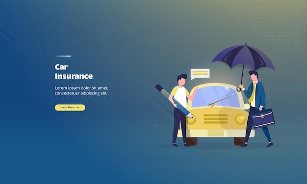 Auto verzekering illustratie concept Premium Vector