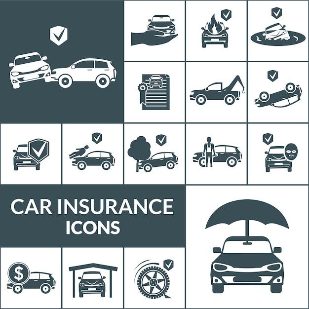 Auto verzekering pictogrammen zwart Gratis Vector