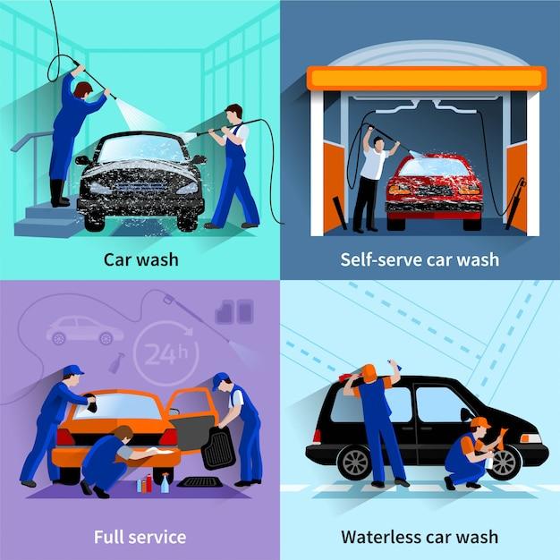 Auto wassen centrum vol en self-service faciliteiten 4 plat pictogrammen vierkant samenstelling abstract vector iso Gratis Vector
