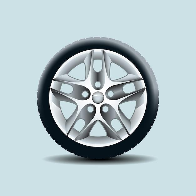 Auto wiel geïsoleerd op duidelijke achtergrond. vector illustratie Premium Vector