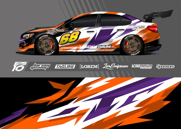 Auto wrap sticker. abstracte streep racen Premium Vector
