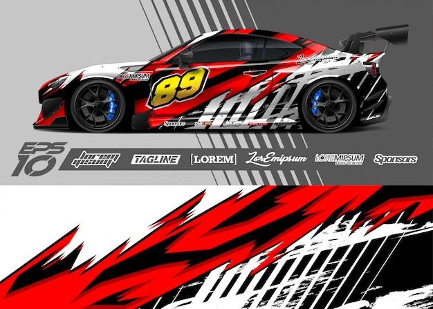 Auto wrap sticker grafisch ontwerp. abstracte streep racen. Premium Vector