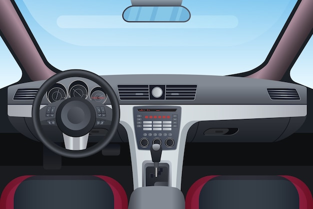 Auto zwarte en rode interieur illustratie. Premium Vector