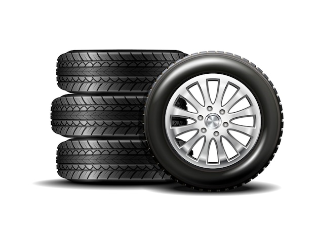 Autobanden op wit worden geïsoleerd dat Premium Vector
