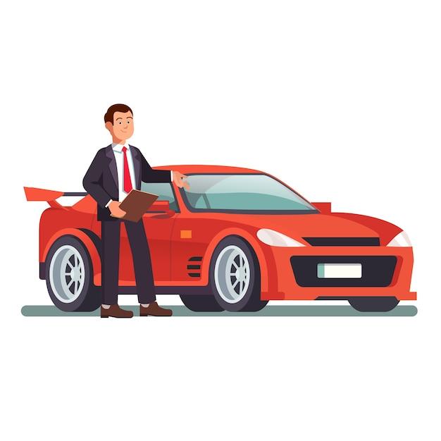 Autodealer die een nieuwe rode sportauto toont Gratis Vector