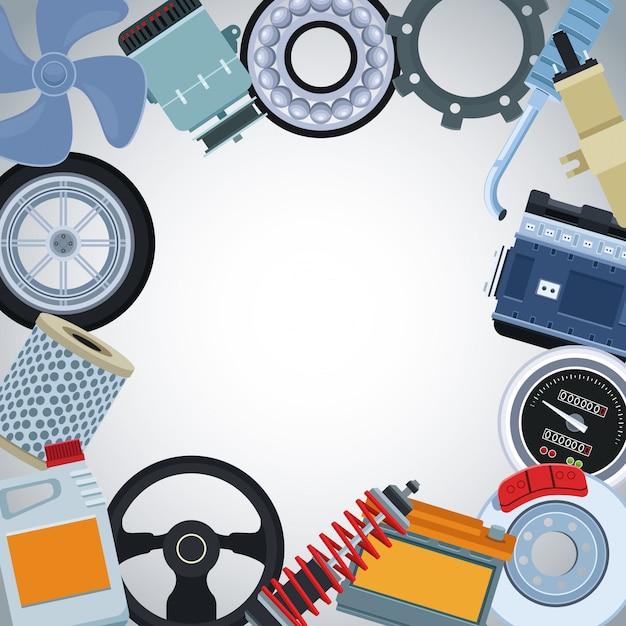 Autofabriek en onderdelen Premium Vector