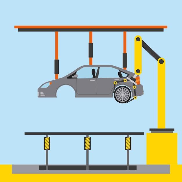 Autofabriek processtap banden assemblage Premium Vector