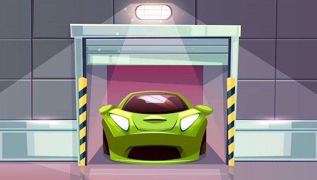 Autogarage of parkeerterreinuitgang met rolblinden vectorillustratie. voertuig moderne sportwagen binnen Gratis Vector