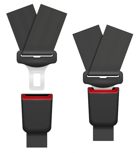 Autogordel voor veiligheid in geval van een ongeluk Premium Vector
