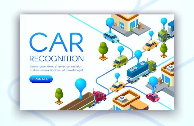 Autoherkenningstechnologie illustratie van kentekenplaten voor voertuigen Gratis Vector