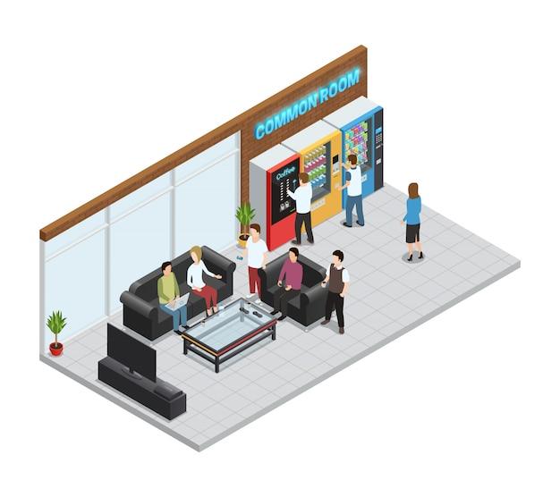 Automaten isometrische samenstelling met koffie en snacksmachines Gratis Vector