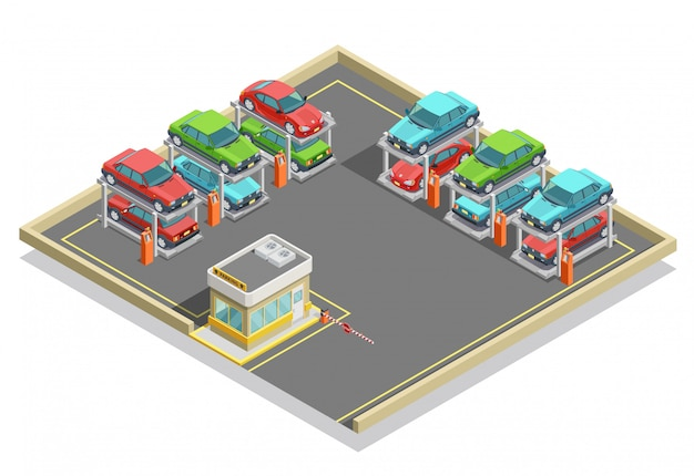 Automatisch parkeren isometrisch concept Gratis Vector