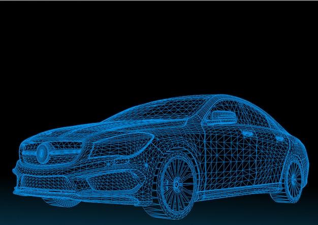 Automodel carrosseriestructuur, draadmodel Premium Vector