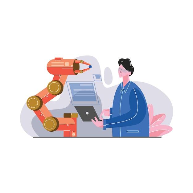Automotion engineer use laptop voor het programmeren van robotarm vectorillustratie Premium Vector