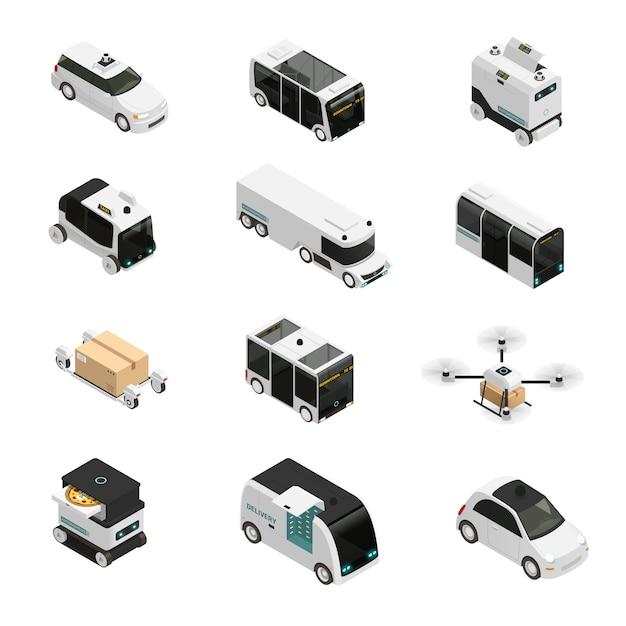 Autonome voertuigen isometrische pictogrammen Gratis Vector