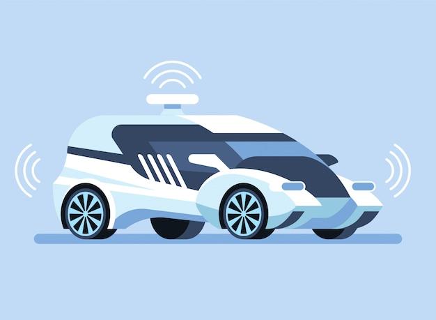 Autonome zelfrijdende auto illustratie Premium Vector