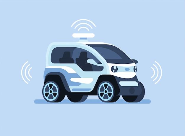 Autonome zelfrijdende auto Premium Vector