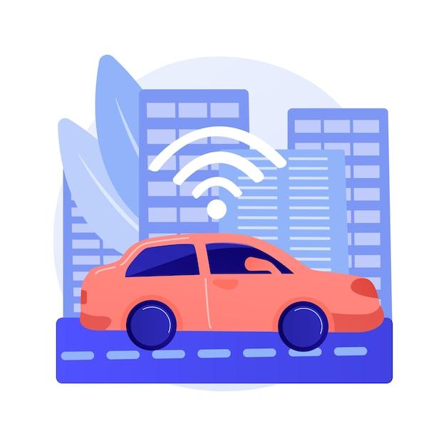 Autonoom rijden abstract concept illustratie Gratis Vector