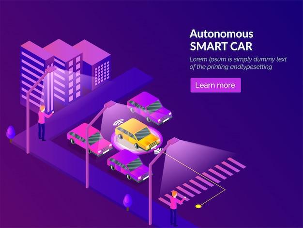 Autonoom smart car websjabloonontwerp. Premium Vector