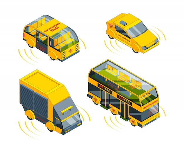 Autonoom voertuig, onbemand vervoer op noodgevallen auto's trein taxi en bussen isometrisch Premium Vector