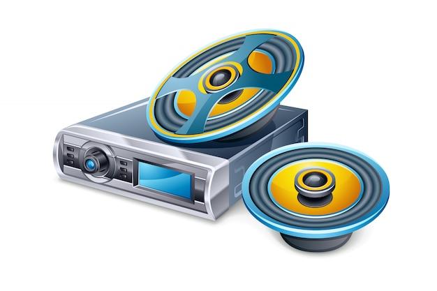 Autoradio en luidsprekers Premium Vector