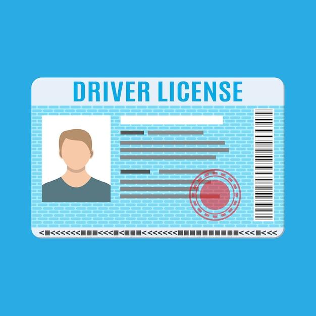 Autorijbewijs identiteitskaart met foto. Premium Vector
