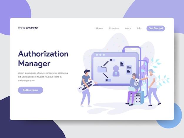 Autorisatie manager illustratie voor webpagina's Premium Vector
