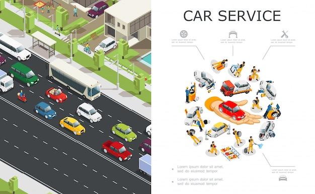 Autoservice en verkeersopstoppingen met arbeiders repareren en repareren auto's en voertuigen die zich op de weg in isometrische stijl verplaatsen Gratis Vector
