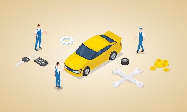 Autoservice met team technicus technicus monteur met auto en geld als onderhoudsdienst met isometrische moderne vlakke stijl Premium Vector