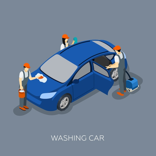 Autoservice team wassen auto isometrische banner Gratis Vector